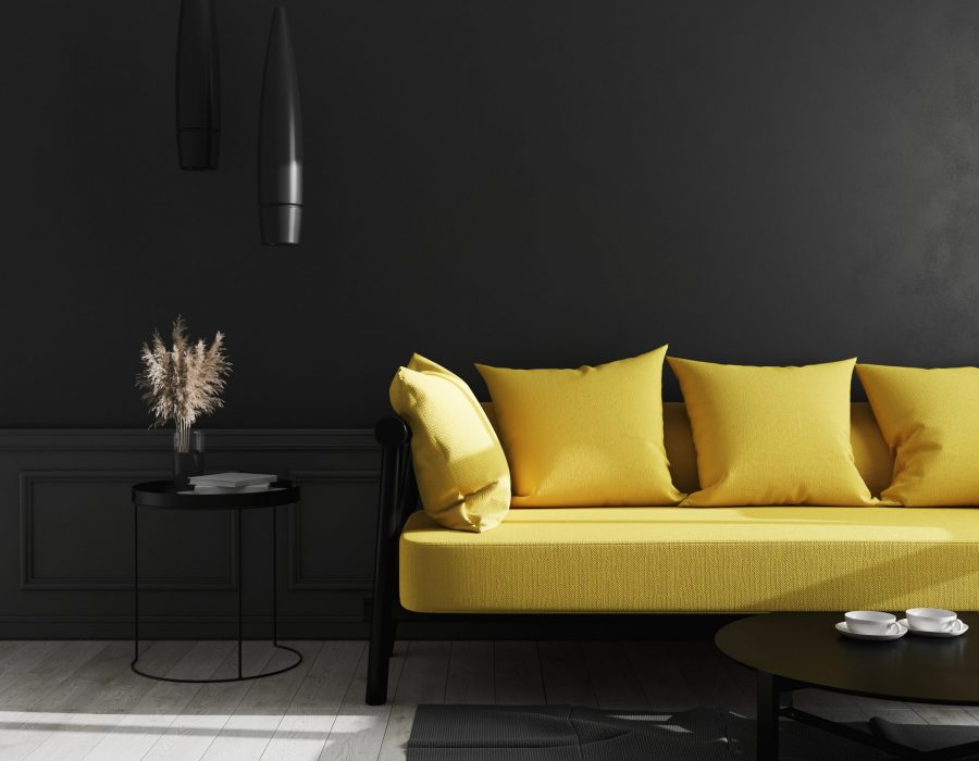 Dark interior of living room with black wall and bright yellow sofa, modern luxury living room interior background, living room interior mock up, interior with black walls, 3d rendering